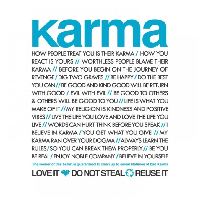 karma-quotes-on-simple-white-shirt-with-tosca-front-colour-karma-quotes-about-life